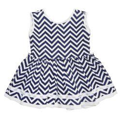 Vestido para Bebê Chevron Marinho