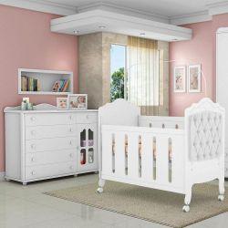 Quarto de Bebê Provence Cômoda Acetinada e Berço Capitonê Branco