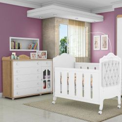 Quarto de Bebê Provence Cômoda Amêndoa e Berço Capitonê Branco