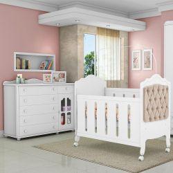 Quarto de Bebê Provence Cômoda Acetinada e Berço Capitonê Caqui