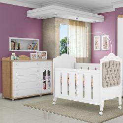 Quarto de Bebê Provence Cômoda Amêndoa e Berço Capitonê Caqui