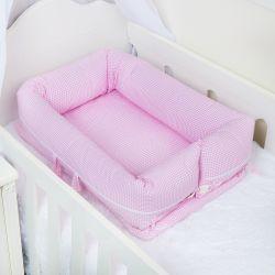 Ninho para Bebê Redutor de Berço Xadrez Rosa