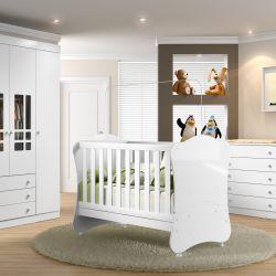 Quarto de Bebê Brigadeiro com Berço/Cômoda/Guarda-Roupa 4 Portas
