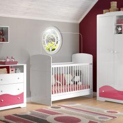 Quarto de Bebê Pingo de Leite Rosa com Berço/Cômoda/Guarda-Roupa 2 Portas
