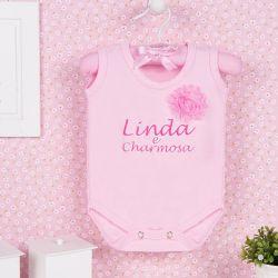 Body Regata Linda e Charmosa Rosa 12 a 15 meses