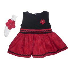 Vestido para Bebê Manu Vermelho e Preto