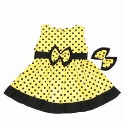 Vestido para Bebê Nina Amarelo Poá