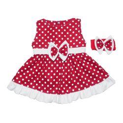 Vestido para Bebê Nina Vermelho Poá