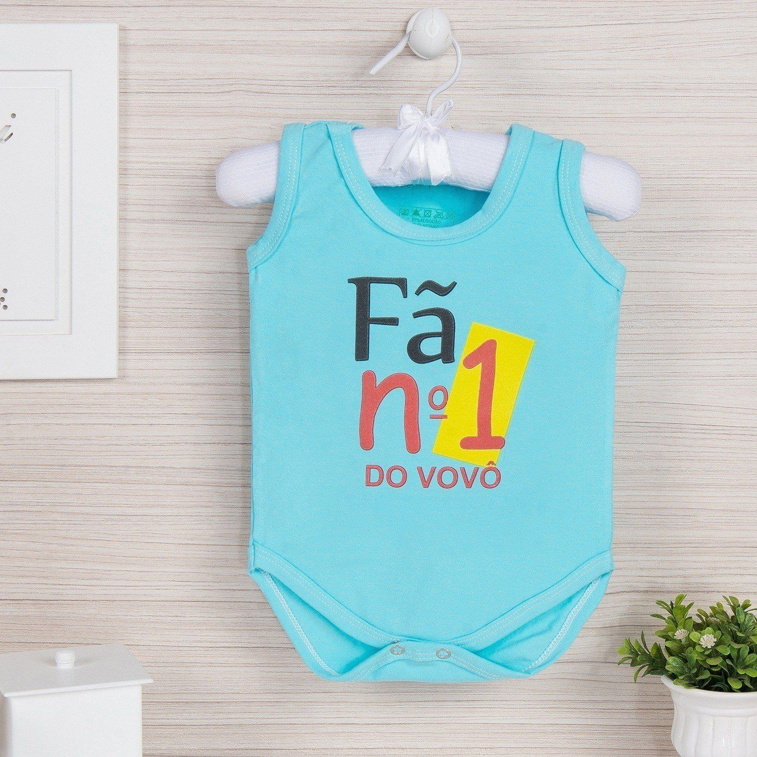 Body Regata Fã Número 1 do Vovô Azul 9 a 12 meses