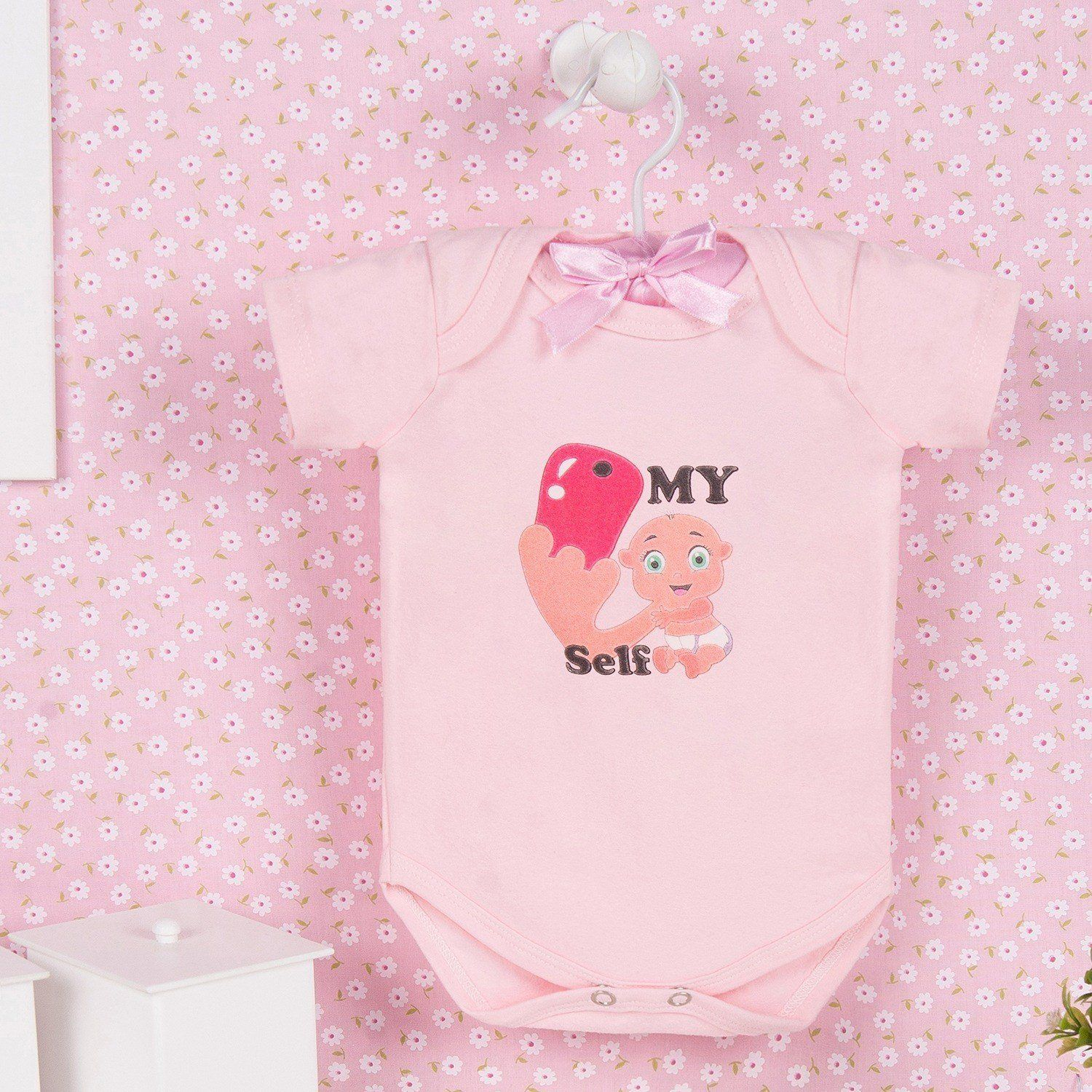 Body Manga Curta My Self Rosa 3 a 6 Meses