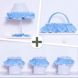 Kit Acessórios Sonho Meu Branco e Azul