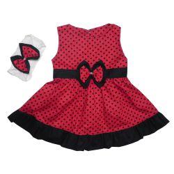 Vestido para Bebê Nina Vermelho Poá Preto