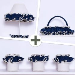 Kit Acessórios Sonho Meu Azul Marinho e Palha