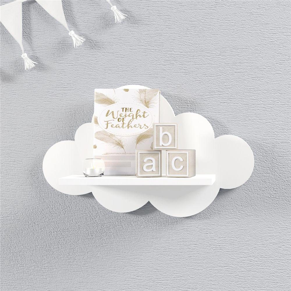 Prateleira Nuvem Branca Quarto Bebê MDF P 30cm Grão de Gente
