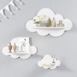 Trio de Prateleiras Nuvem Branca