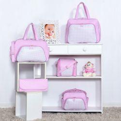 Conjunto de Bolsas Maternidade Poá Rosa