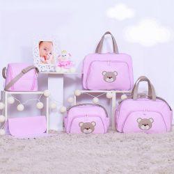 Conjunto de Bolsas Maternidade Ursa Fofinha Rosa