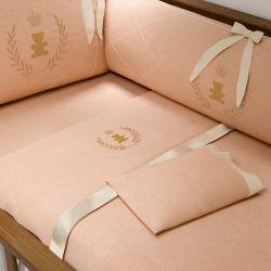 Jogo de Lençol Berço Realeza Rosé Premium