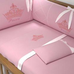 Jogo de Lençol Berço Princesa Rosa Premium