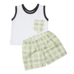 Conjunto Regata Branco e Short Xadrez Verde