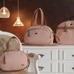 Conjunto de Bolsas Maternidade Realeza Rosé