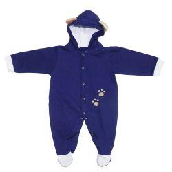 Macacão Bebê Manga Longa Urso Azul Marinho