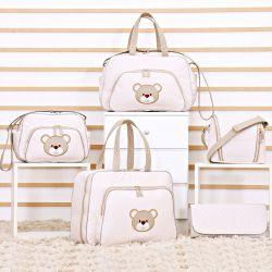 Conjunto de Bolsas Maternidade Urso Fofinho Palha