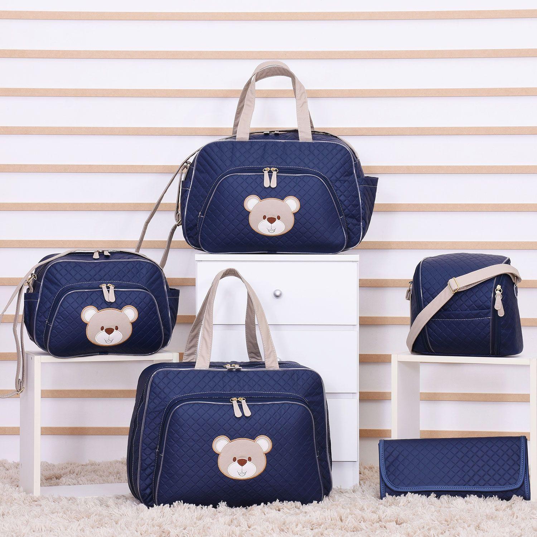 6deebc185 Conjunto de Bolsas Maternidade Urso Fofinho Azul Marinho | Grão de Gente