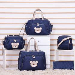 Conjunto de Bolsas Maternidade Urso Fofinho Azul Marinho