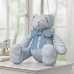 Urso Azul Listrado com Laço 34cm