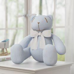 Urso Listrado Gravata Branca 34cm
