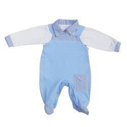 Conjunto Macacão + Body Baby Casual Azul