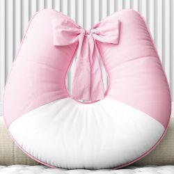 Almofada Amamentação Rosa e Branco