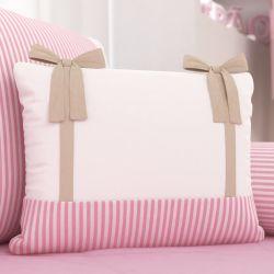 Almofada Retangular Laços e Listras Rosa e Bege 43cm