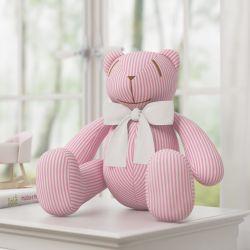 Urso Listrado Rosa Laço Branco 34cm