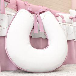 Almofada Amamentação Branco e Rosa