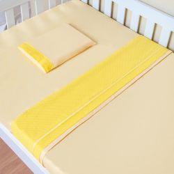Jogo de Lençol Minicama Amarelo Poá