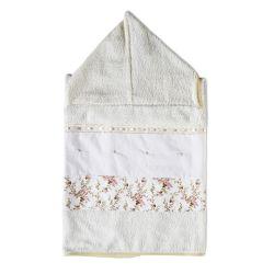 Toalha de Banho Forrada com Capuz Pérola Floral