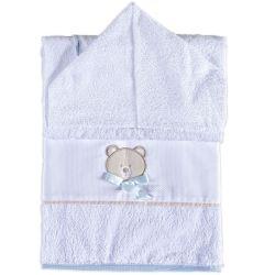 Toalha de Banho Forrada com Capuz Bambini Azul
