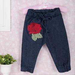 Calça Jeans Patch Rosa Vermelha Recém-Nascido a 3 Meses