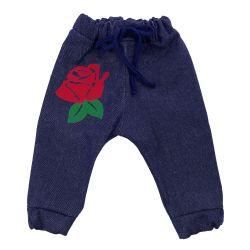 Calça Jeans Patch Rosa Vermelha 9 a 12 Meses