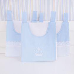 Porta Fraldas Varão Coroa Azul Bordado Inglês