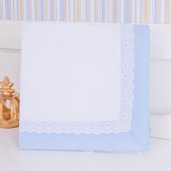 Manta Azul Bordado Inglês