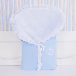 Porta Bebê Coroa Azul Bordado Inglês