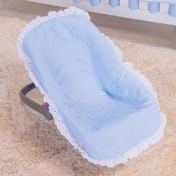 Capa de Bebê Conforto Azul Bordado Inglês