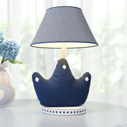 Abajur Coroa Clássica Xadrez Azul Marinho