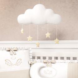 Móbile Nuvem Pompom com Estrelinhas
