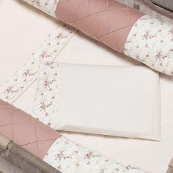 Jogo de Lençol para Berço Desmontável Floral Rosé 1,16m x 80cm