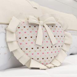 Almofada Coração Alice Bege Estampada 29cm