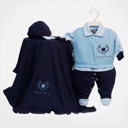 Saída Maternidade Suedine Pequeno Príncipe Azul Marinho